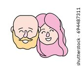 avatar couple head with... | Shutterstock .eps vector #694487311