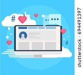 social media marketing banner.... | Shutterstock . vector #694491397
