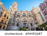 malaga cathedral on plaza del... | Shutterstock . vector #694492687