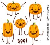 set with funny pumpkins ... | Shutterstock .eps vector #694496959