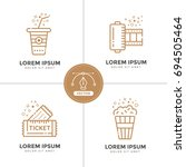 cinema linear icons set.... | Shutterstock . vector #694505464