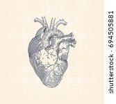 vintage line drawing... | Shutterstock .eps vector #694505881