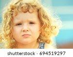 little curly hair girl ... | Shutterstock . vector #694519297