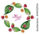 frame of raspberries and thank... | Shutterstock . vector #694532914