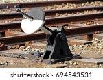 switch machine on railway in... | Shutterstock . vector #694543531