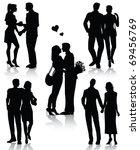 romantic couples silhouettes ... | Shutterstock .eps vector #69456769