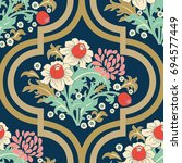 seamless vector vintage pattern ... | Shutterstock .eps vector #694577449