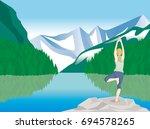 yoga pose   nature    vector... | Shutterstock .eps vector #694578265