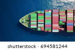 mega container ship at sea  ... | Shutterstock . vector #694581244