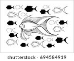 fish herd. vector illustration... | Shutterstock .eps vector #694584919