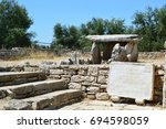 Small photo of BISCEGLIE, ITALY - JULY 29, 2017: Dolmen della Chianca with Unesco acknowledgment as Heritage witnessed by a culture of peace for humanity, Bisceglie, Apulia, Italy