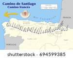 map of camino de santiago. map... | Shutterstock .eps vector #694599385