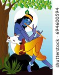 krishna illustration vector for ... | Shutterstock .eps vector #694600594