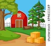 red barn in the farmyard... | Shutterstock .eps vector #694611169