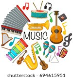 different kinds of musical... | Shutterstock .eps vector #694615951