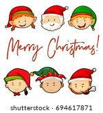 merry christmas card with santa ... | Shutterstock .eps vector #694617871