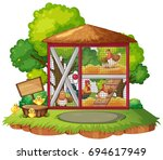 many chickens in the coop... | Shutterstock .eps vector #694617949
