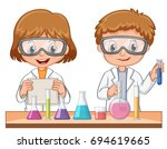 two students do science... | Shutterstock .eps vector #694619665