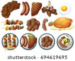 different types of grilled food ... | Shutterstock .eps vector #694619695
