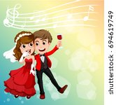 wedding couple celebrating with ... | Shutterstock .eps vector #694619749