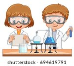 boy and girl do science... | Shutterstock .eps vector #694619791
