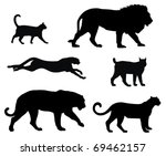 Stock vector vector illustration of various cats silhouettes 69462157