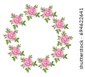 round vector frame with pink...   Shutterstock .eps vector #694622641