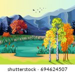 autumn landscape with a lake... | Shutterstock .eps vector #694624507