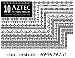 aztec vector pattern brushes... | Shutterstock .eps vector #694629751