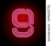 realistic red neon number.... | Shutterstock . vector #694635751