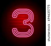 realistic red neon number.... | Shutterstock . vector #694635775