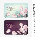 gift card with magnolia flower. ... | Shutterstock .eps vector #694637797