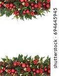 christmas decorative border... | Shutterstock . vector #694645945