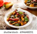 ratatouille  vegetable stew... | Shutterstock . vector #694648351