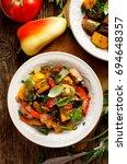 ratatouille  vegetable stew...   Shutterstock . vector #694648357