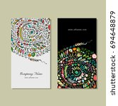 business cards design  floral... | Shutterstock .eps vector #694648879