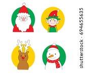 cartoon cute christmas set... | Shutterstock .eps vector #694655635