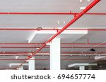 Fire Sprinkler System With Red...