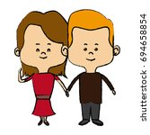 couple of young people man and... | Shutterstock .eps vector #694658854