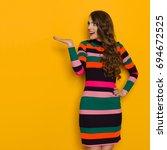 beautiful young woman in...   Shutterstock . vector #694672525