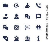 set of 16 support icons set... | Shutterstock .eps vector #694677601