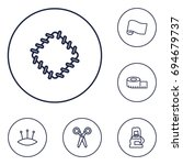 set of 6 tailor outline icons... | Shutterstock .eps vector #694679737