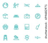 set of 16 journey outline icons ... | Shutterstock .eps vector #694682971