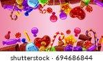 sweets cakes horizontal banner... | Shutterstock . vector #694686844