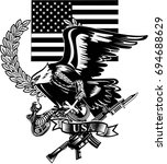 eagle and snake. rifle   Shutterstock .eps vector #694688629