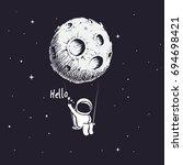 cute astronaut riding a swing... | Shutterstock .eps vector #694698421