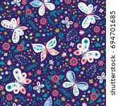 Stock vector colorful folk vector seamless pattern with butterflies and flowers 694701685