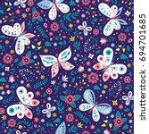 colorful folk vector seamless... | Shutterstock .eps vector #694701685