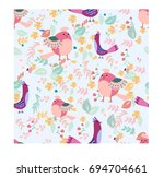 vintage cute lovely bird chick... | Shutterstock .eps vector #694704661