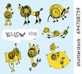 vector set art line  yellow dog ... | Shutterstock .eps vector #694708759